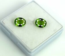 Oval 3.95 Ct Olive Green Peridot Gemstone Natural Matching Pair AGSL Certified