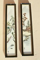 2 Vintage Japanese Hand Painted Signed Framed Porcelain Village Tiles