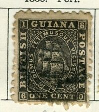 BRITISH GUIANA; 1860 early classic QV issue fine used 1c. value