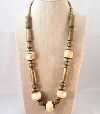 Native American Jewelry Bone And Brass Copper Bead Necklace