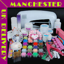 9W UV Dryer Lamp Color Acrylic Powder Nail Art Kit Gel Primer Set Tips UK Stock