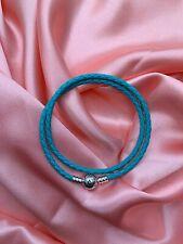 Genuine Sterling Silver PANDORA Turquoise DoubleWrap LEATHER BRACELET 38CM+pouch
