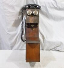 Oak Two Box Phone Old Wood Two Story 1916 - 1932 Telephone with Magneto