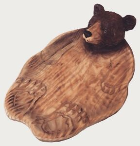 Brown Bear Hand Wood Carving Candy Dish
