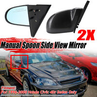 For Honda CIVIC 96-00 Carbon Fiber Look Manual Adjustable Spoon Rear View