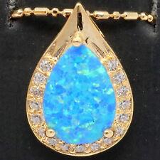 3CT Pear Blue Australian Fire Opal Necklace Women Jewelry 14K Rose Gold Plated