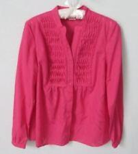Emma James pink tucks lace trim long sleeve button front blouse *Sz S*