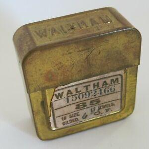 Waltham Pocket Watch Movement Only Shipping Brass Box [6297]