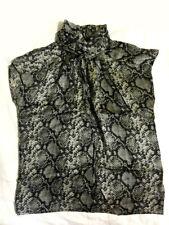 Silk snakeskin printed  highneck capsleeve top