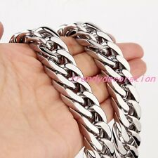 "6-19MM 7-11"" Stainless Steel Silver Gold Black Cuban Chain Mens Womens Bracelet"