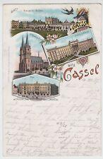 (113696) Künstler AK Gruß aus Kassel, Post, Orangerie, Kirche, Litho. 1897