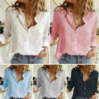 Womens Cotton Linen Loose Tops Blouse Ladies Long Sleeve Casual Pullover T Shirt