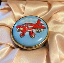 Staffordshire Hand Painted Airplanes Small Enamel Pill Box