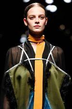 PRADA FALL 2014 RUNWAY Amber Mustard Yellow Silk Skinny SCARF ~NWT~