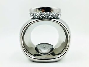 Chrome Circular Ceramic & Crushed Diamond Necklace Oil Wax Warmer Burner Melt