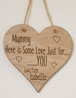 PERSONALISED MOTHERS DAY GIFTS FOR HER GIFT ENGRAVED HEART WOODEN PLAQUE MUM NAN