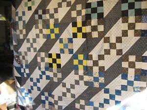 "Vintage Handmade Cotton Patchwork Quilt Top, Unfinished, 69"" x 72"""