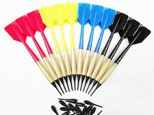 12 Brass Soft Tip Bar Dart with 50 Extra tips Black Yellow Red Blue shaft Flight