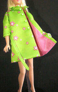 TOP MATTEL BARBIE DOLL REPRODUCTION FAR OUT GROOVY GREEN FLOWERS LINED JACKET