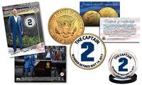 DEREK JETER Set with TOPPS NOW Retired #2 Trading Card & 24K JFK Yankee #2 Coin