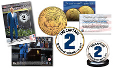 DEREK JETER Set with TOPPS NOW Retired #2 Trading Card & 24K JFK Yankee #2 Coin
