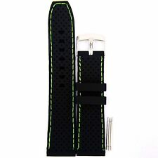 22mm Wide Black Silicon Rubber Green Line Waterproof Watch Bands,Diving Strap