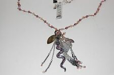 NWT Guess Silver & Black Metals-Purple & Clear Rhinestone Snake Cluster Necklace