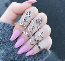 Punk V-shaped Carved popular wedding Creative prom woman Ring sets alloy gift