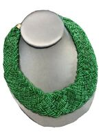 "Vintage Shiny Kelly Green Glass Woven Seed Bead Necklace 16"" Inches Long"