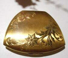 Vintage Elgin American powder compact with mirror and pad,brass