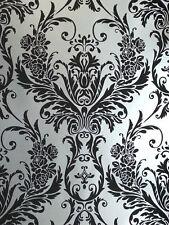 Silver Black Damask Wallpaper Medina Flock Effect Luxury Feature Wall Debona