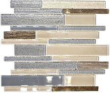 Glasmosaik Naturstein beige grau Verbund Stäbchen Wand 67-GV24 | 10 Mosiakmatten