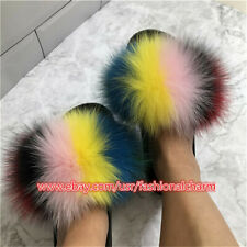 Women's Real Fox Fur Slides Slippers Summer Sandals Beach Holiday Furry Shoes