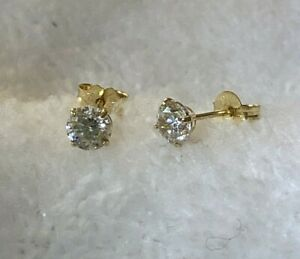 14K Yellow Gold Round CZ Cubic Zirconia Stud Pierced Earrings ~ 4 mm ~ Sparkly!