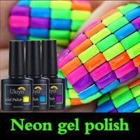 Ukiyo 10ml Fluo Neon Gel Polish No Wipe Top Base Coat DIY Salon