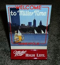 """Miller High Life Beer Minneapolis """"City of Lakes"""" Hard Plastic Bar Table Tent"""