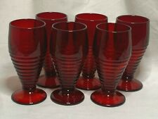 6 Paden City glass ruby red Penny line footed tumblers