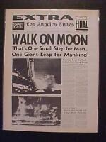 VINTAGE NEWSPAPER HEADLINE ~SPACE MAN ARMSTRONG MEN WALK LAND MOON LANDING 1969
