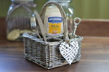 Gorgeous White Willow Heart Design Cutlery Condiment Holder 4 Compartment Caddy