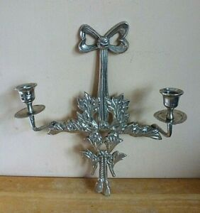 """Vintage Solid Iron Wall Sconce Candlestick 2 Candle Holders Christmas Decor 13"""""""