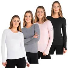 Calvin Klein Womens 2020 Vibe Longsleeved Thumbhole Stretch Scoop Neck T-Shirt