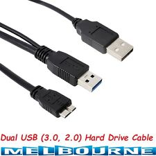 USB 3.0 Hard Disk Drive Dual 2 HDD Data Type A Male to Micro B Y Male Lead Cable