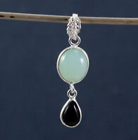 925 Sterling Silver Chalcedony Black Onyx Gemstone Handmade Office Wear Pendant