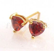 Men Girl Kid 18K Yellow Gold Plated 5mm CZ Cubic Heart Stud Earrings Black Pink