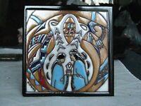 """VINTAGE EARTHTONES 1990 ARTIST SIGNED KUHNE """"Marriage Tile"""" 6"""" TILE/TRIVET"""