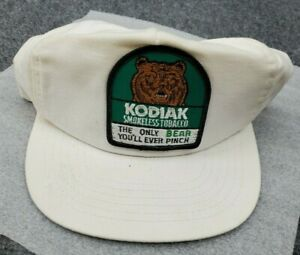 VTG Kodiak Tobacco Patch Hat Made USA Funny Trucker Only Bear Youll Ever Pinch