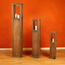 Windlicht Laterne Holzlaterne Windlichtset Säulen Kerze 3 tlg Set Landhaus Braun