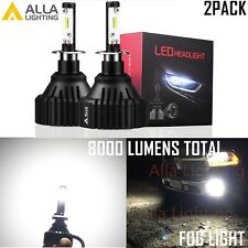 Alla Lighting 8000LM H3 LED Fog Light Bulb Cornering Driving Lamp 6000K White 2x