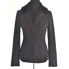 Hinge Longsleeve Blazer Pleated Waist Removable Faux Fur Collar Black Sz S