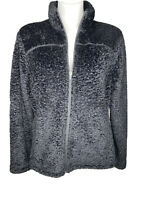L.L.Bean Womens Regular Black Hi Pile Fleece Full Zip Long Sleeve Jacket Size XL